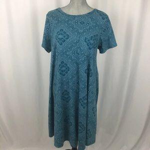 LULAROE Carly Blue Aztec Geometric Pocket Dress